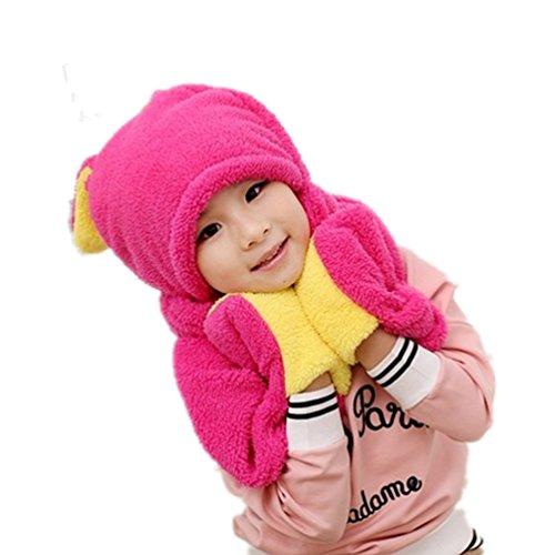 Écharpe Full Animal sweat à capuche en fausse fourrure d'hiver gants Chapeau 3en 1Fonction rose rouge