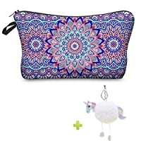 Mandala Cosmetic Bag, Waterproof Travel Make Up Pouch Pencil Case Gift for Girls School with Unicorn Keychain (purple)