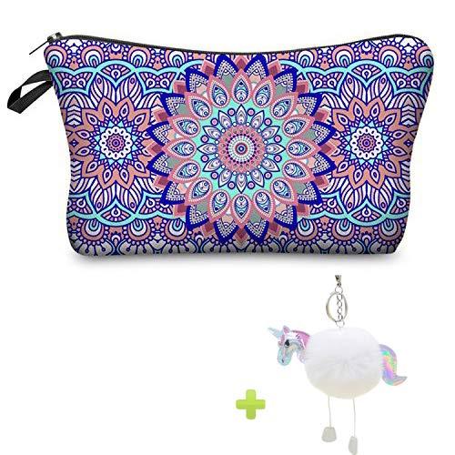 Bolsas de Maquillaje Mujeres de Mandala, viaje impermeable compone el regalo de la caja de lápiz de la bolsa para la escuela de las muchachas con llavero del unicornio (violeta)