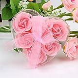 CLOOM 6Pcs Rosen Seife Kunstblumen Seife Duftende Bad Körper Blütenblatt Rose Blume SeifeHochzeit Hadezimmer Dekoration Valentinstag Geschenk Schlafzimmer Wohnzimmer Dekoration (Rosa)