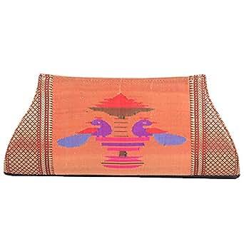 Honeylite Paithani Clutches For Women (Golden)