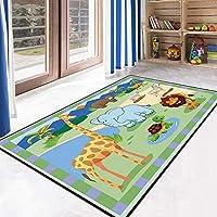 JIFAN Child Carpet, Cartoon Animal Get Together Carpet Puzzle 26 English Alphabet Rug Digital Maze Carpet Child Football Site Game Pad Non-slip Crawling Mat Household Crystal Velvet Soft Carpet