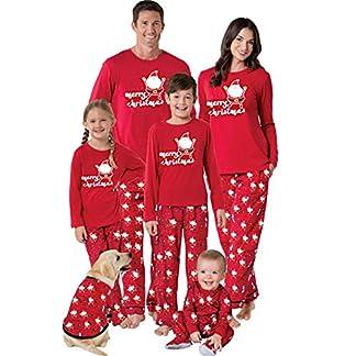 POLP Niño Navidad Ropa niñas Unisex Pijama Bebe Navidad Regalo Estampado de Navidad Manga Larga Vestido Estampado de Santa Claus Tops y Pantalones 2pc Rojo 6M-6años Padres e Hijos Niño