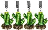 My-goodbuy24 Tischdeckenbeschwerer mit Klammer - 4er Set - Tischdeckenhalter Garten Tischdeckenklammern Tischtuch Clips - Polystone (Kaktus) - 3