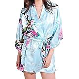 DELEY Mujer Albornoces Kimono Pavo & Flores Satén Pijamas Exóticos Ropa De Dormir Bata Corto Talla M Azul