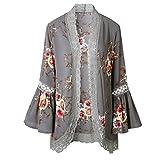 Bekleidung Damen,TWBB Lace Floral offenes Cape lässig Mantel lose Bluse Kimono Jacke Cardigan (L, Grau)