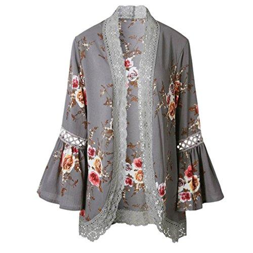 TWBB Bekleidung Damen, Lace Floral offenes Cape lässig Mantel lose Bluse Kimono Jacke Cardigan (L, Grau)