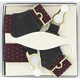 Men's Sock Suspenders (SKS7)- Maroon Pin Dot