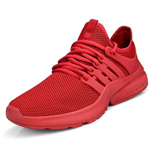 ZOCAVIA Unisex Sneaker Herren Damen Schuhe Ultraleichte Laufschuhe Atmungsaktive Wanderschuhe Rot 37