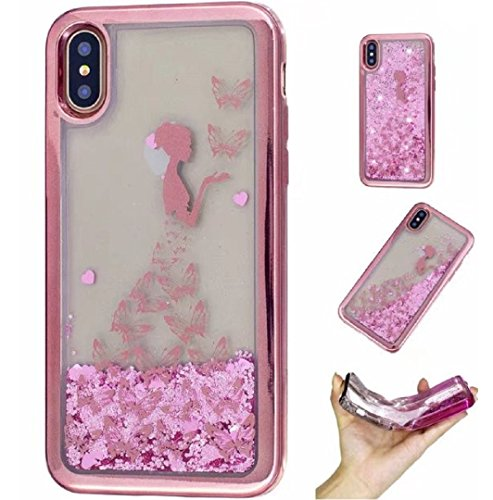 uk availability 72eee 3e79b WEIFA iPhone X Case, Very Light Slim Shiny Flowing Floating Love Heart  Liquid Moving Sand