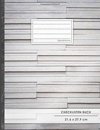 """Checklisten-Buch: DIN A4 • 70+ Seiten, Softcover, Register, \""""Steintafeln\"""" • #GoodMemos • 18 Checkboxen + Platz für Notizen/Seite (inkl. Register mit Datum uvm.)"""
