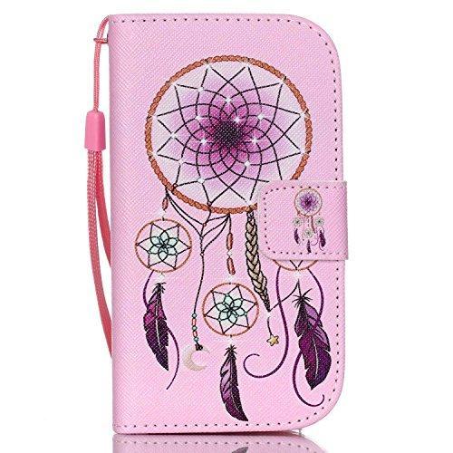 ISAKEN Galaxy S3 Mini Hülle, PU Leder Geldbörse Wallet Case Ledertasche Handyhülle Tasche Case Schutzhülle mit Handschlaufe Standfunktion für Samsung Galaxy S3 Mini - Ornament Lila
