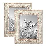 PHOTOLINI 2er Set Vintage Bilderrahmen 15x20 cm Weiss Shabby-Chic Massivholz mit Glasscheibe und Zubehör/Fotorahmen / Nostalgierahmen