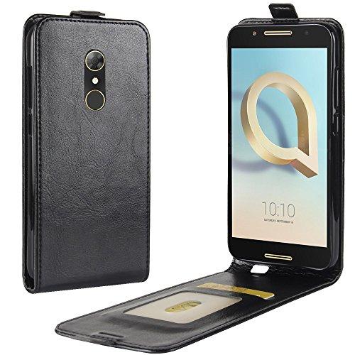 HualuBro Alcatel A7 Hülle, [All Aro& Schutz] Premium PU Leder Leather Handy Tasche Schutzhülle Case Flip Cover mit Karten Slot für Alcatel A7 Smartphone (Schwarz)