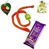 Adora-Fashion-Beads-rakhi-with-chocolate-multicolor-(Orange-and-lime-green)stone-base-bracelet-for-Men-R124