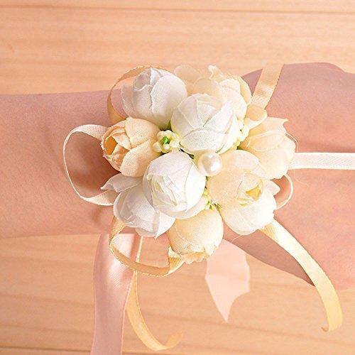 20 pezzi braccialetto di fiori per sposa damigelle inviti allacciato al polso (bianco)