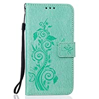 For Samsung Galaxy S7 Case [With Tempered Glass Screen Protector],idatog(TM) Magnetic Flip Book Style Cover Case ,High Quality Classic Elegant Couples Dandelion Pattern Design Premium PU Leather Folding Wallet Case With [Lanyard Strap] and [Credit Card Sl