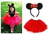 Lizzy® Mädchen Rock Mehrfarbig Minnie Mouse Ears Headband + Kids Red Tutu