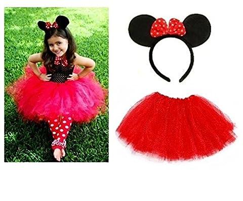 Lizzy® Mädchen Rock Mehrfarbig Minnie Mouse Ears Headband + Kids Red Tutu (Kinder Cat Halloween Kostüme)