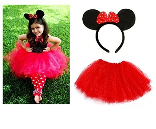 Lizzy® Mädchen Rock Mehrfarbig Minnie Mouse Ears Headband + Kids Red Tutu (Rock Minnie)