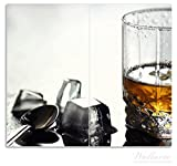 Wallario Herdabdeckplatte/Spritzschutz aus Glas, 2-teilig, 60x52cm, für Ceran- und Induktionsherde, Whiskey on the Rocks