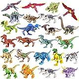 Tosbess 24Pack Dinosaurier Figuren Mini Dinosaurier Spielzeug Dinosaurier Bausteine Dinosaurier World Tiere Spielzeug Perfekt für Kindergeburtstag Party Dekoration, Jungen Mädchen Kinder