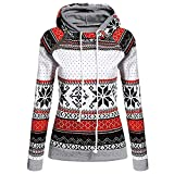 Moginp Fashion Xmas Women Hoodie Jumper Ladies Christmas Outwear Hooded Sweatshirt with Zipper Pullover Blouse T-Shirt Top