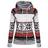 TianWlio Weihnachten Pullover Langarmshirt Bluse Hoodie Frauen Herbst Winter Weihnachtsdruck mit Reißverschluss Pullover Kapuzenpullover Tops (L, Weiß)