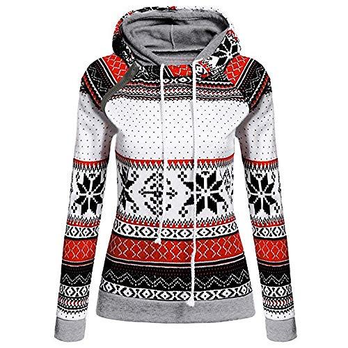 TianWlio Weihnachten Pullover Langarmshirt Bluse Hoodie Frauen Herbst Winter Weihnachtsdruck mit Reißverschluss Pullover Kapuzenpullover Tops (M, Weiß)