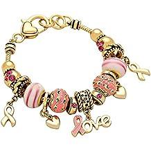 Colecciones de Rosemarie Mujer Lazo Rosa Love Dangle Colgante de Corazón Campaña contra el cáncer de mama pulsera con cuentas de oro tono
