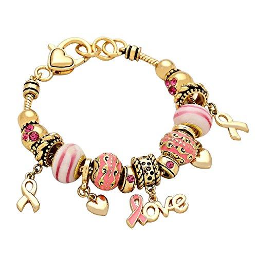 Rosemarie - Pulsera dorada con charms Cancer de mama