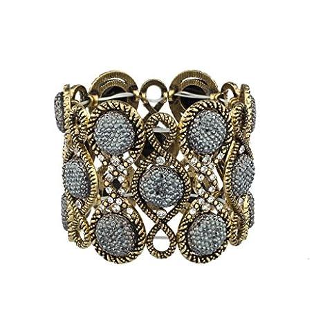 Lux Accessories - Bracelet Extensible Style Boho Glitz Pavé Pierre Caviar Gris Doré Aux Reflets