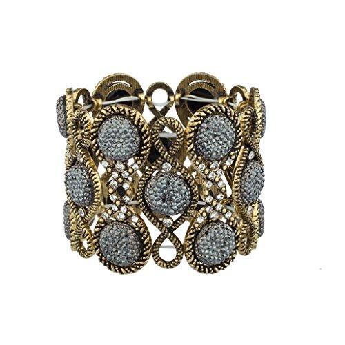 Lux Accessories Poliert Gepflastert Goldfarben Grau Kaviar Glitzer Stein Boho Glamour Stretch Armband (Aus Jones Jersey-stretch)