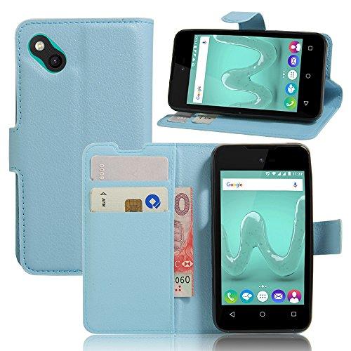 Nadakin Wiko B Kool Hülle Stand Schutzhülle PU Leder Flip Tasche Case mit Karte Halter und Magnetisch Bumper Ledertasche für Wiko B Kool (Blau)
