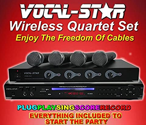 Vocal-Star Wireless Quartet Set - Multi Format Karaoke Machine with 4 VHF Wireless Microphones and 300 Songs …