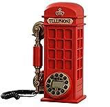 Mode Europäischen Stil Antik Telefon Retro Telefon ISDN-Telefone Schnurtelefon Harz Metall Stent Kieselgel Knopf Display Freisprechen Analog Telefon Telefon Kreativ Geschenk Zuhause und Büro Anrufbeantworter(Rot)