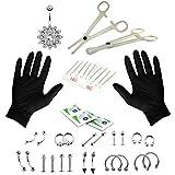 MagiDeal 41 Stücke Körper Piercing Schmuck Set inkl. Zunge Augenbraue Lippe Bauch Nabel Bar mit 1 Paar Handschuhe