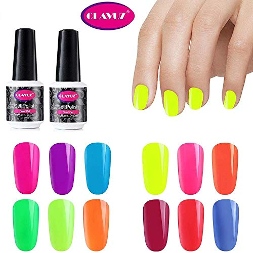 Clavuz Esmaltes Semipermanentes en Gel UV LED,  12pcs Neon Esmaltes de Uñas Soak- off (12 colores)
