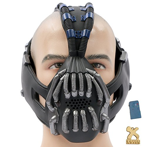 Kostüme Bane Cosplay (Halloween Maske mit Voice Changer Cosplay Kostüm Herren Halloween Verrücktes Kleid Latex Helm Replik für Party)