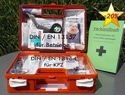 Erste-Hilfe-Koffer QUICK - PLUS 2016 DIN / EN 13157 + DIN / EN 13164 von HM-Arbeitsmedizin incl. Verbandbuch + Hygieneset S