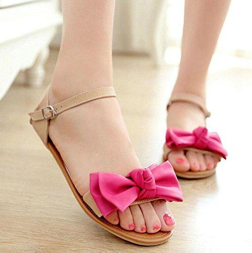 SHINIK Frauen Sandalen Fliege Sommer flache Schuhe süße schöne Close-up Sandalen Mary Jane gelb rot blau Red