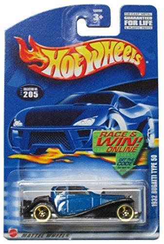 Hot Wheels 2002 #205 1932 Bugatti Type 50 on Race & Win Card - Gold 5 Hole Wheels by Hot Wheels
