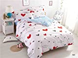 Zhiyuan Heart White Bedding Duvet Cover Flat Sheet Pillowcase Set Twin