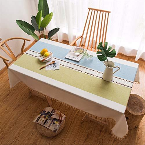 Esstischdecke mit Quasten Rechteck Tischdecke für Hochzeitsfeier Baumwolle Leinen Küchentisch Abdeckung Dekoration E 140x220cm ()