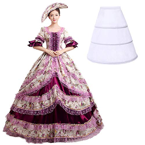 Nuoqi®Damen Satin Gothic Victorian Prinzessin Kleid Halloween Cosplay Kostüm (36, CC2377A)