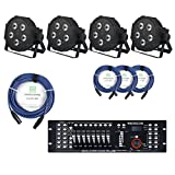 Showlite FLP-5x8W Scheinwerfer SET inkl. DMX Controller Master Pro USB und Kabel (LED-Spots, Lichttechnik, Komplettset, DMX-Kabel, 1m, 3m)