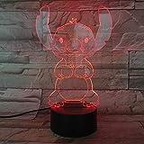 Cartoon Stitch 3D Lampe Schlafzimmer Tisch Nachtlicht Acryl Panel USB Kabel 7 Farben ändern Touch Base Lampe Kinder Geschenk 3D-812