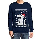 T-Rex Dinosaurier Nikolaus Mütze Witzig Weihnachten Sweatshirt Medium Marineblau
