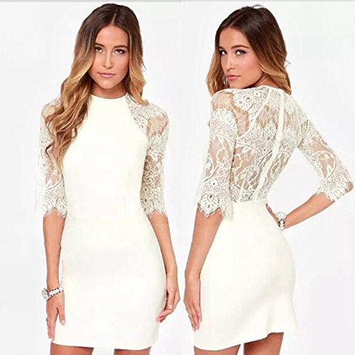 Ukamshop Cocktail Femmes Mode broderie de dentelle Bandage Parti Sexy Mini-robe Blanc