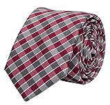 Fabio Farini karierte Krawatte klassisch 8 cm Breite, mit Karomuster in mehreren Farben für Weihnachten, Geburtstag, Hochzeit, Büro (Grau Rot Weiß